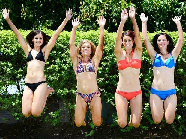 GO GIRLS!: Amy Macdonald, Shaz Diamond, Jenna Smirnis, Shae White, and Karina Beattie, will be taking part in the Bikini Parade World Record attempt.