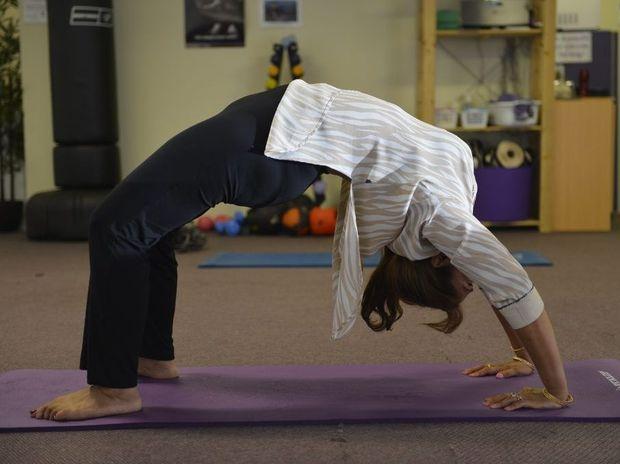 Yoga guru Pushpa Bakshi in the Table pose.