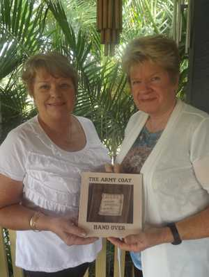 Merrian Ross and Sharon Barrett with their book, The War Coat.
