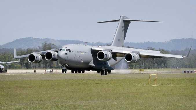 RAAF's latest C-17A Globemaster, aircraft A41-211, lands at RAAF Base Amberley.