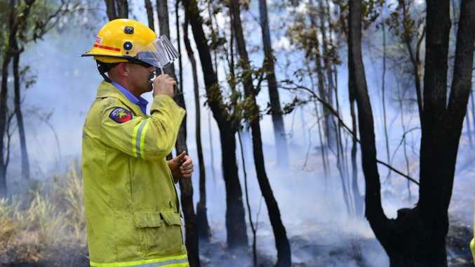 One crew from the Gladstone QFRS were called to a small grass fire on the corner of Dawson Highway and Chapman Drive, Gladstone. Photo Christopher Chan / The Observer