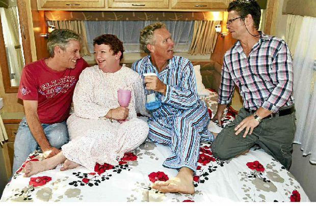 ON STAGE: Rodney (Brett Klease), Penny (Jenni McCaul), Parkes (Frank Wilkie) and Pierce (Steve Mitchell).