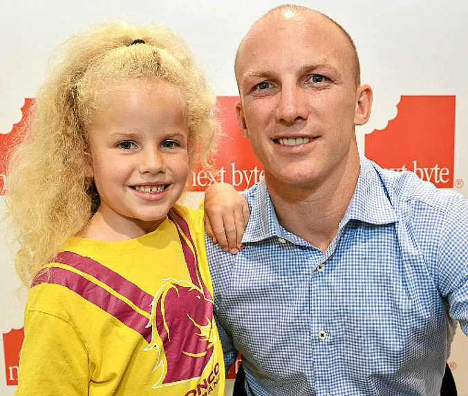 THANKS LOCKY: Olivia O'Rourke tells former Brisbane Broncos champion Darren Lockyer she is a fan during his visit to the Maroochydore Homemaker Centre.