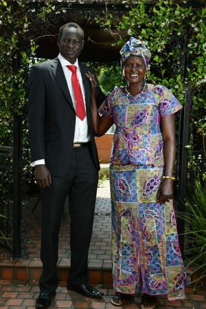 Johnson Maker-Adeng recently graduated from The Universirt of Queensland with a Bachelor of Science and a Bachelor of Economics. Pictured with his MOther Monica Matoc. Photo Patrick Gorbunovs / The Northern Star