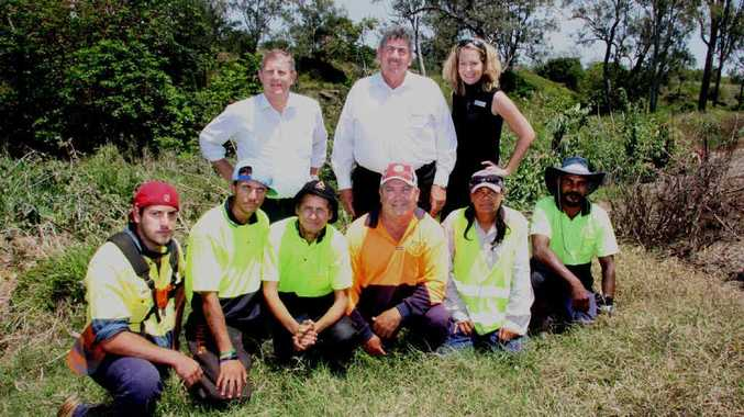 RECOVERY EFFORT: SEQ Catchments chief executive Simon Warner, Somerset Mayor Graeme Lehmann and Councillor Kirsten Moriarty with the Murra Innovations team who are working to restore the Lockyer Catchment.