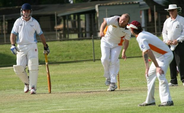 TWO DAYERS CONCLUDE: Kingaroy RSL captain Darren Geiger fires down a delivery during the closing stages of the two day match between Kingaroy RSL and Wooroolin Warriors.