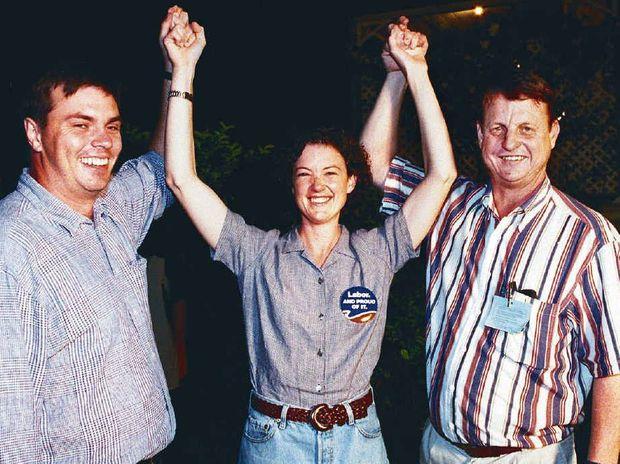 WINNER: Kirsten Livermore, Craig Brown and Robert Schwarten celebrate her 1998 election.