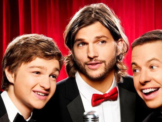 Two and a Half Men stars, from left, Angus T Jones, Ashton Kutcher and Jon Cryer.