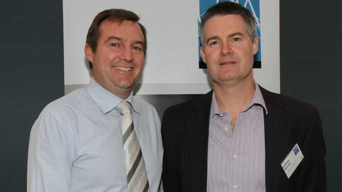 Guest speaker Matthew Gross with new president Andrew Stevens at the UDIA AGM held at the Maroochydore Surf Club.