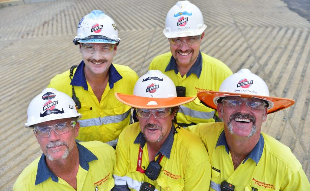 QCLNG Movember participants (from back left) Simon Smith, Paul Farcich, (front) Greg Kendal, Aaron Markham and James Whitworth on Curtis Island.