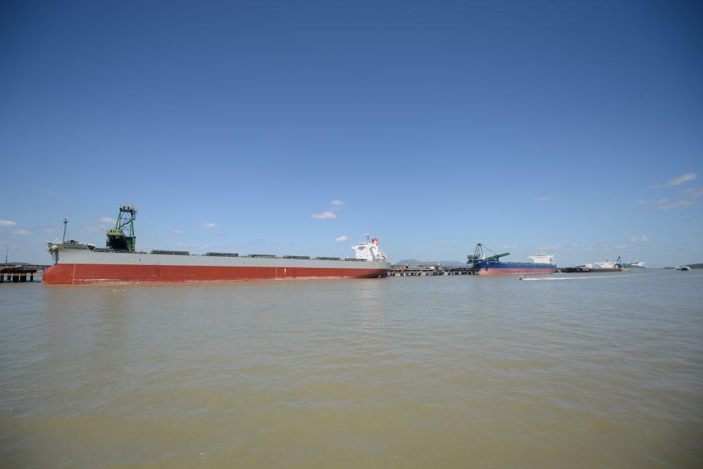 Coal ships at RG Tanna Coal Export Terminal.
