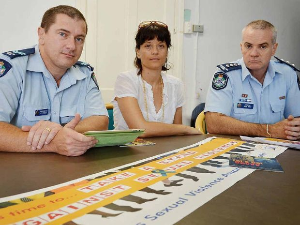 Young people who experience sexual assaults at work are not alone, say Gympie crime prevention officer Llew O'Brien (left), counsellor Sabine Schroeder and Insp Bruce McNab.