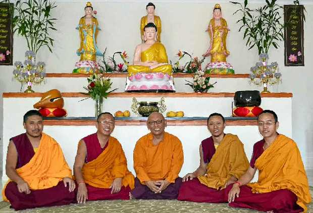 MONKING ABOUT: Tenpa Gyatso, Phunsok Shakya, Geshe Nwawang Gedun, Dakpa and Phunsok Lhundrup will be in Lismore all next week.