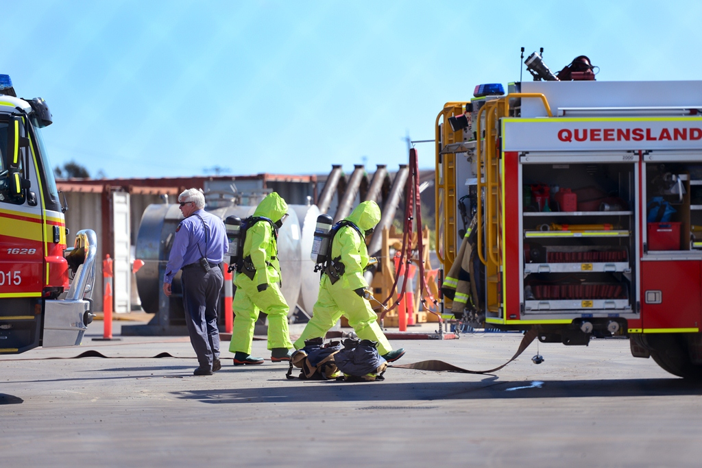 NQX Freight System on Young Street, Gladstone, where two people have been contaminated following a chemical spill.