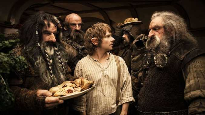 Martin Freeman, centre, as Bilbo Baggins in a scene from The Hobbit: An Unexpected Journey.