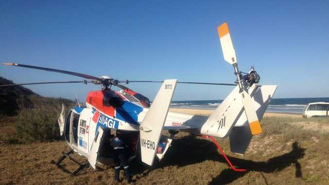 The AGL Action Rescue Helicopter crew spent several hours in the search for a crash on Fraser Island.