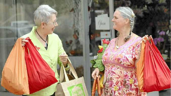BUY RIGHT: Lismore mayor Jenny Dowell and Cr Vanessa Ekins love locally produced products.