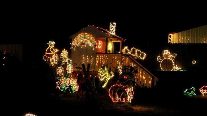 The Barnett family home at Benaraby (pictured) previously won the Grand Prize in a Christmas lights competition.