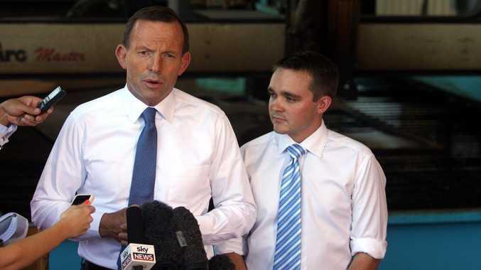 Opposition Leader Tony Abbott and Member for Longman Wyatt Roy at Atlas Heavy Engineering.