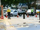 ROAD WOE: Traffic backs up in Ipswich CBD due to a burst water main on Brisbane St.