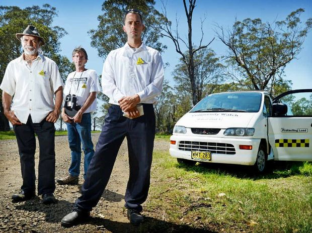 PRIVATE EYES: Phillipe Dupuy, Dean Draper and Daniel-John Peterson with the Northern Rivers Community Watch van, keeping an eye on CSG companies operating in the region.