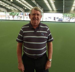 TODAY: City Bowls Club immediate past president Vince McSherry under the shaded, carpeted green at the present club complex on Shakespeare Street.