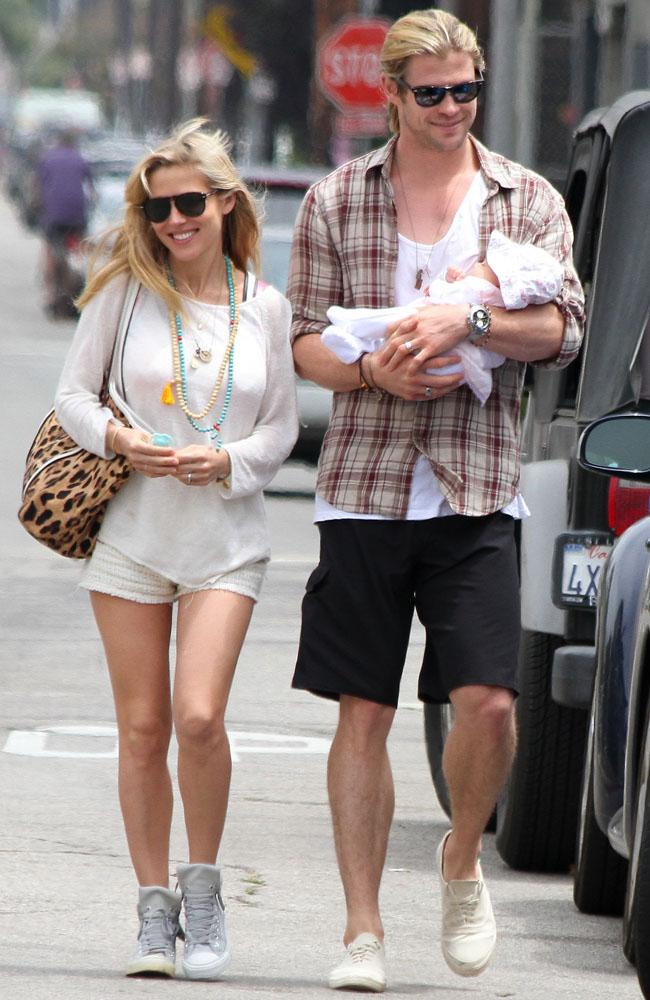 Chris Hemsworth with Elsa Pataky and baby India.