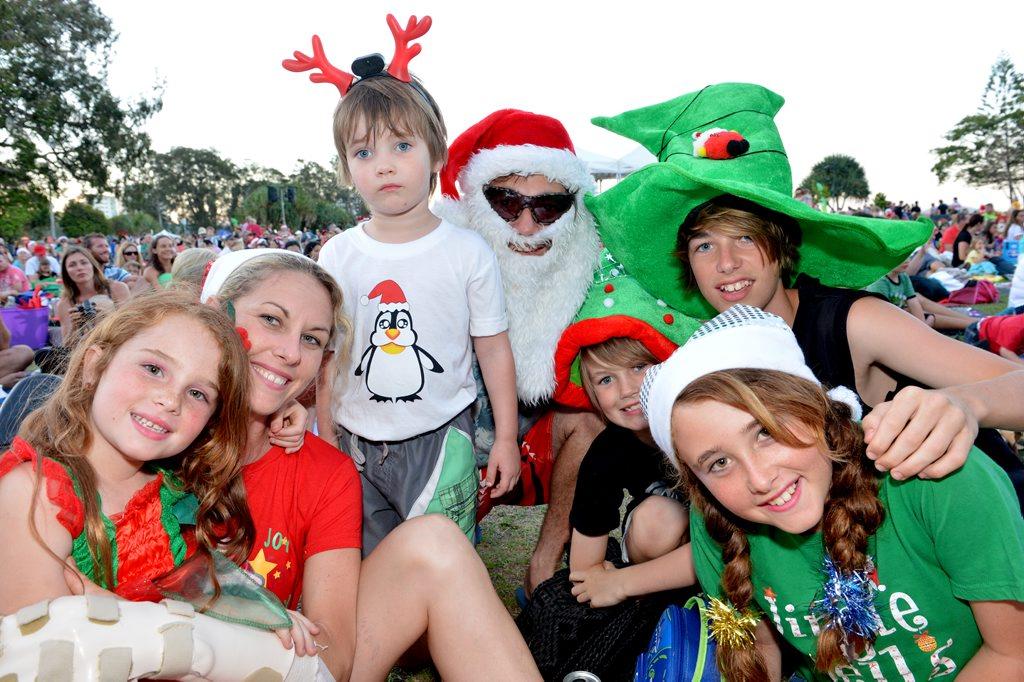 Carols at Cotton Tree. Maddy, Robyn, Brody, Steven, Patrick, Ashlee and Corey. Photo:Warren Lynam / Sunshine Coast Daily