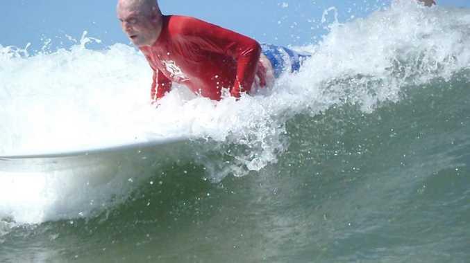 Matt Golinski having a surf at Alexandra Headland thanks to the Peter Hughes Burn Foundation. Taken from their Facebook page.