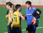 Keil Brown of Australia shakes hands with goal keeper Jaap Stockmann of the Netherlands after the match between Australia and the Netherlands during day two of the Champions Trophy on December 2, 2012 in Melbourne, Australia.