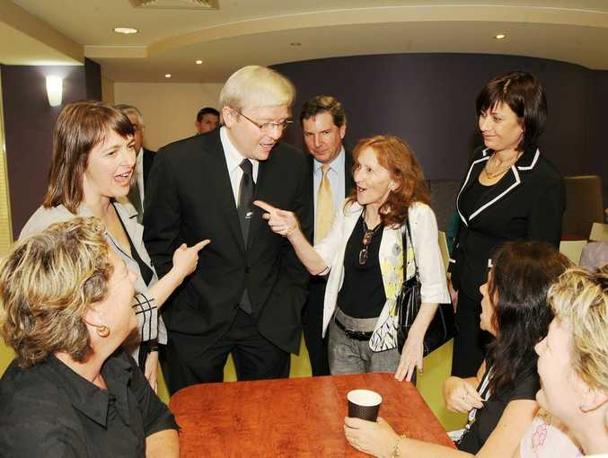 Kevin Rudd pictured in August 2009 with, from left, Nicola Roxon, Janelle Saffin, Northern Rivers health boss Chris Crawford and Justine Elliot.