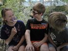 (L-R) Courtney Miller, 12, Aidan Green, 12 and Nathan Cobb, 12, students at Gladstone West State School celebrate Movember.