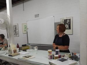 Printmaking workshop at Community Arts on Goondoon