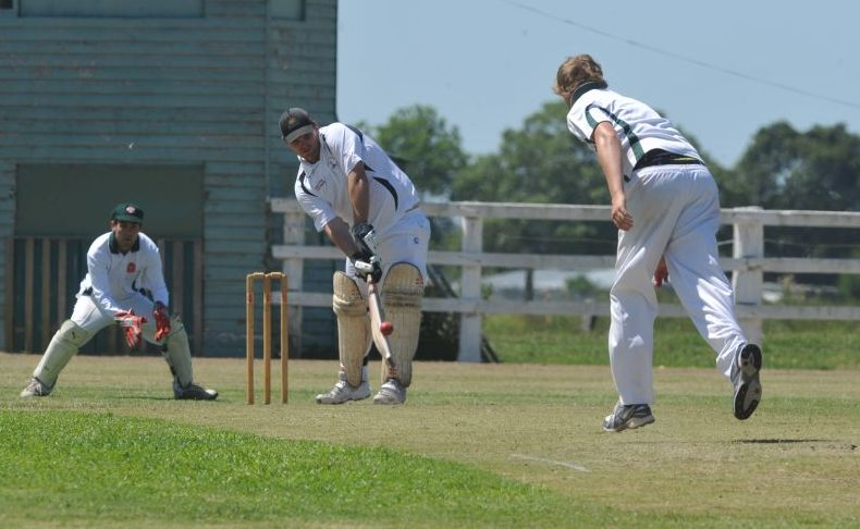 Dan Blackman batting for Coutts Crossing in their CRCA Premier grade match against Easts at Ulmarra on Saturday.