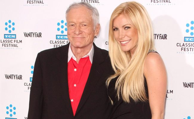 Hugh Hefner and fiance Crystal Harris.