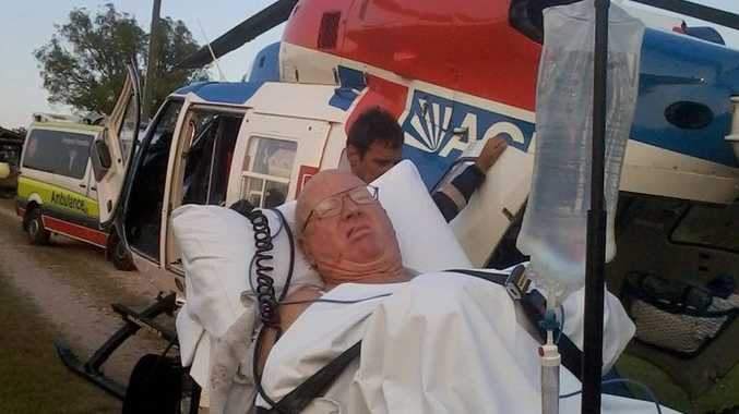 Fred Vaughan is loaded aboard the AGL Action Rescue Helicopter after the attack.