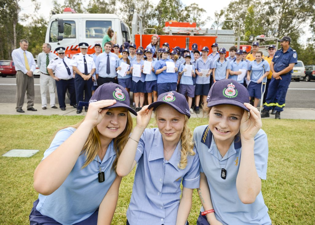 Image for sale: Katie Clarke, Claire Bridge and Taylah Mayberry - three of the 35 year 9 students at CVAS that completed the RFS Cadet training program. Photo Adam Hourigan / The Daily Examiner