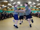 Dancing to The Gallopede (left) Toby Miles and Ella Grundy, grade 2 at St Francis Catholic Primary School. Photo Brenda Strong / The Observer