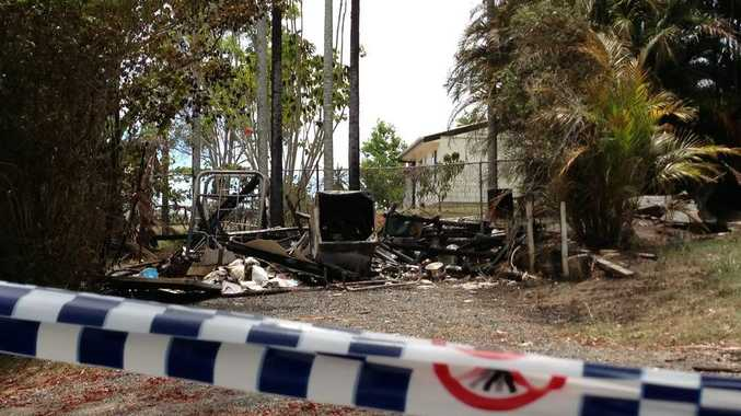 A shed destroyed by fire at Woombye.