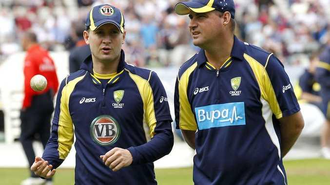 Australia's Captain Michael Clarke (L) and Head Coach Mickey Arthur.