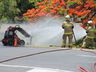 Firefighters dousing the scene of a gas leak with water near the intersection of Freshwater and Tavistock Sts in Torquay.