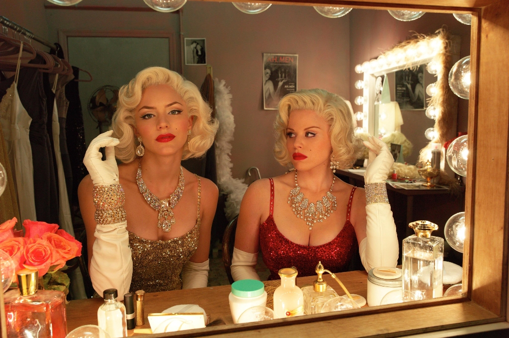 Katharine McPhee, left, and Megan Hilty in a scene from the TV series Smash.