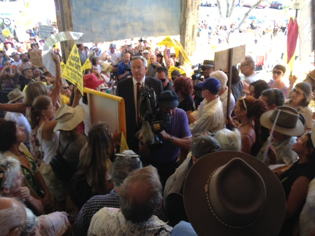 Brad Hazzard arrives at the coal seam gas protest outside Lismore City Hall.