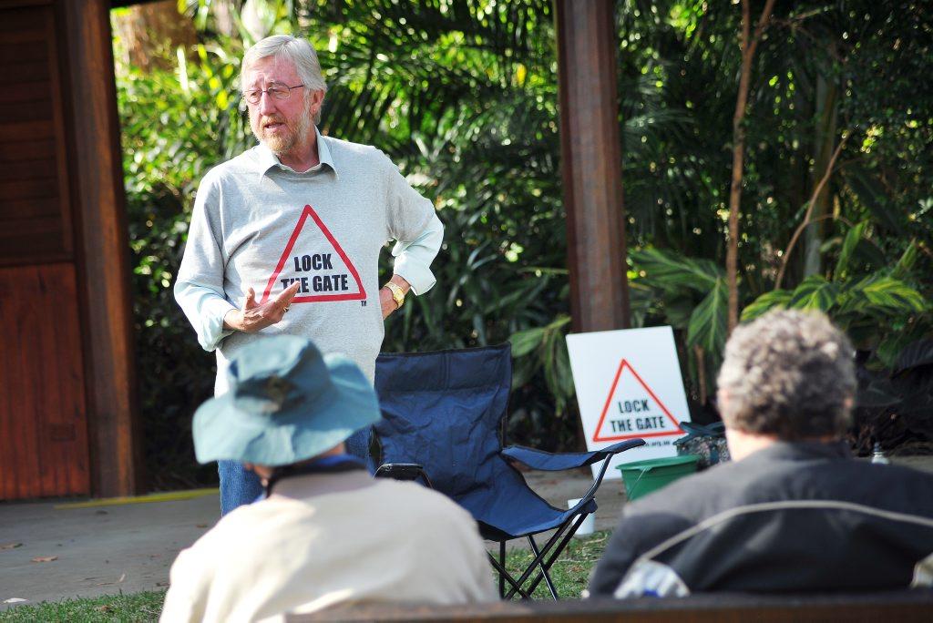 Lock the Gate Tweed's Michael McNamara addresses protesters.