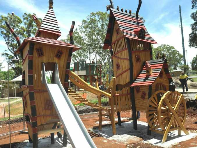 The new Spielart Magical Witch Forest playground goes up at Picnic Point.