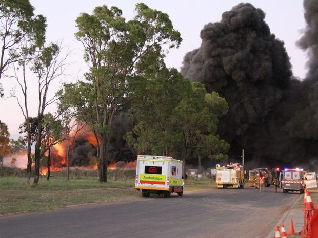 A large fire at a computer dump at Oakey. Photo Contributed