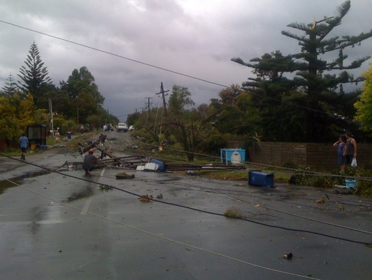 Tornado damage on Waimarie Road in Whenuapai.