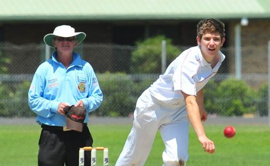 Steven Grogan delivers the ball to Gladstone State High School batsman Jon Rideout in the Queensland Secondary Schools Cricket State Cup Knockout Competition held at Salter Oval (file photo). Photo: Max Fleet cric0710b