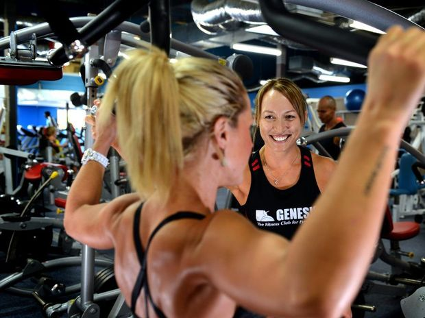 Genesis Tweed. Sharon Jensen and Rose Stritzke (Instructer) work out. Photo: John Gass / Daily News