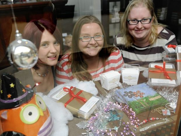 Homemade gifts are being sought after as Christmas gifts. Amanda Hellyer (fudge lady), Emily Lund (jewellery) and Angela Churchill.